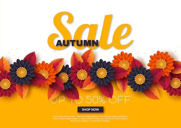 Banner de venda de outono com flores e folhas 3d. fundo amarelo, branco - modelo para descontos sazonais, ilustração vetorial.