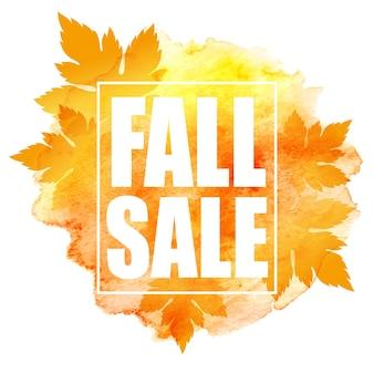 Banner de venda de outono com folhas coloridas em aquarela