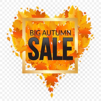 Banner de venda de outono com folhas de outono em forma de coração