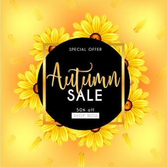 Banner de venda de outono com folhas em 3d, flores fundo amarelo