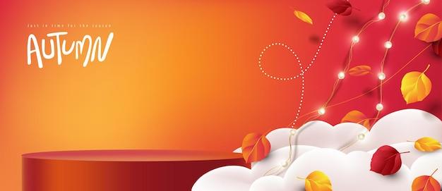 Banner de venda de outono com formato cilíndrico de exibição de produto decorando as folhas de outono caindo no céu