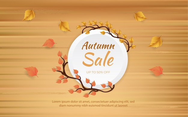 Banner de venda de outono com galhos e folhas em pranchas de madeira
