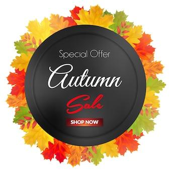 Banner de venda de outono com moldura preta e folhas