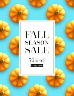 Banner de venda de outono com padrão de abóbora