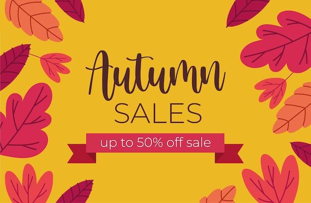 Banner de venda de outono com texto e fita