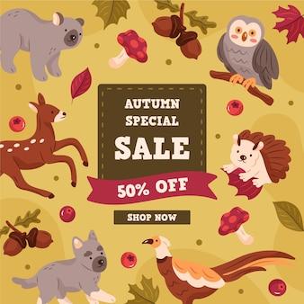 Banner de venda de outono desenhado à mão