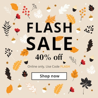 Banner de venda de outono, outono e ação de graças para tamanhos de anúncio para celular.