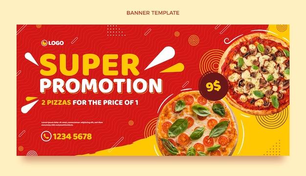 Banner de venda de pizza em design plano