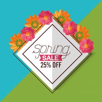 Banner de venda de primavera 25% de desconto