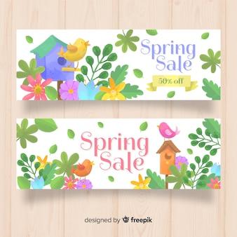 Banner de venda de primavera aquarela