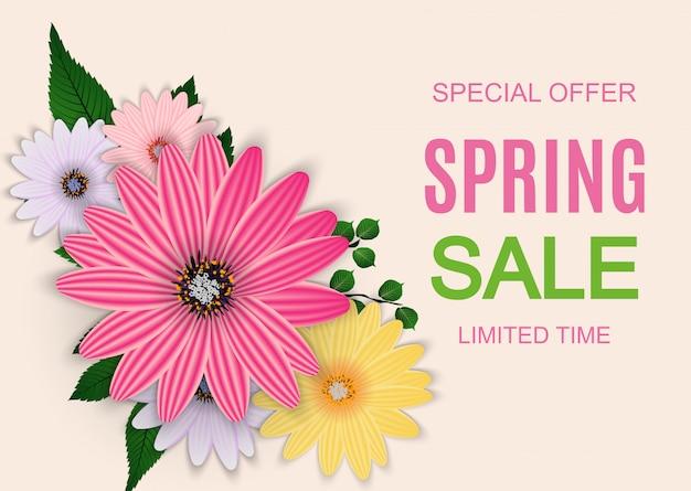 Banner de venda de primavera bonito com elementos de flor colorida