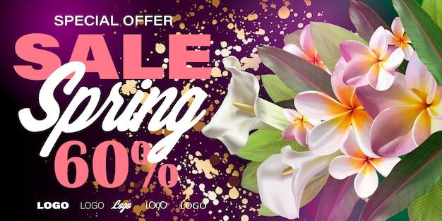 Banner de venda de primavera com flores de papel para compras on-line, ações de publicidade, revistas e sites.