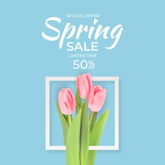 Banner de venda de primavera com flores de tulipa realista.