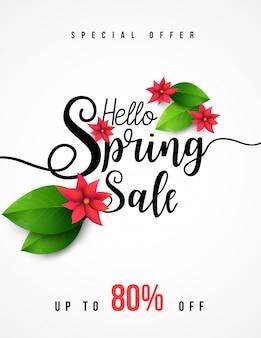 Banner de venda de primavera com folha verde