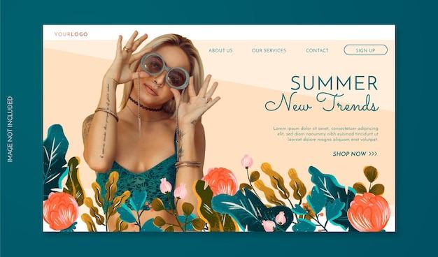 Banner de venda de primavera com foto de flores desenhadas à mão