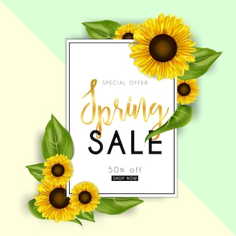 Banner de venda de primavera com girassóis
