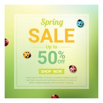 Banner de venda de primavera com joaninhas coloridas