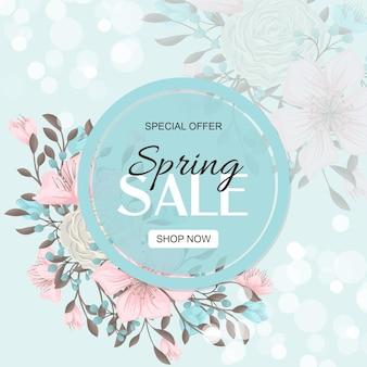 Banner de venda de primavera com lindas flores coloridas.