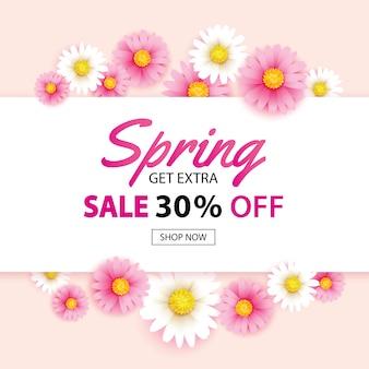 Banner de venda de primavera com modelo de plano de fundo flores desabrochando