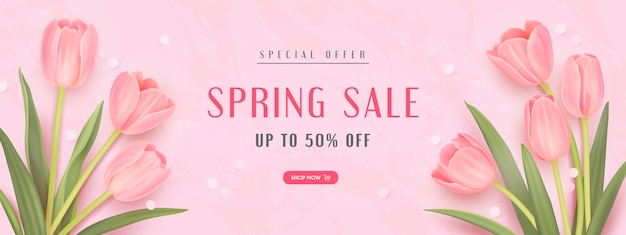 Banner de venda de primavera com tulipas realistas