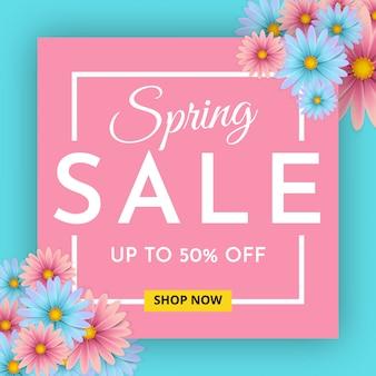 Banner de venda de primavera com uma linda flor.