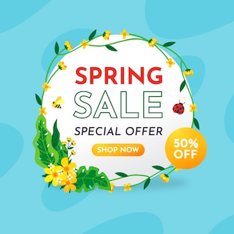 Banner de venda de primavera de design plano
