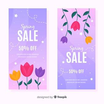 Banner de venda de primavera de tulipas