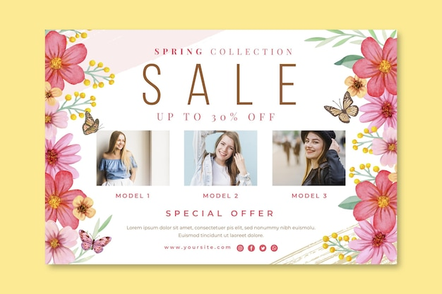 Banner de venda de primavera em aquarela