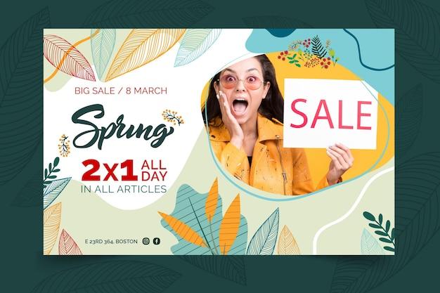 Banner de venda de primavera em design plano