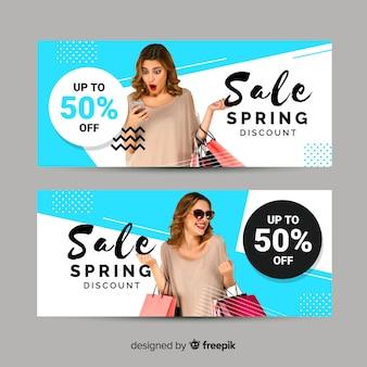 Banner de venda de primavera fotográfico