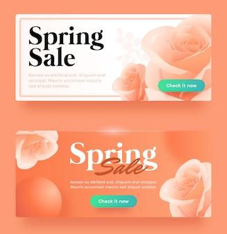Banner de venda de primavera laranja