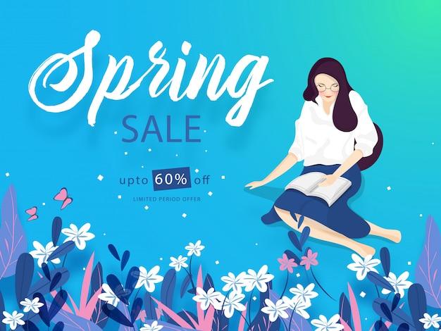 Banner de venda de primavera ou design de cartaz com oferta de 60% de desconto e