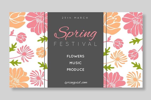 Banner de venda de primavera plana