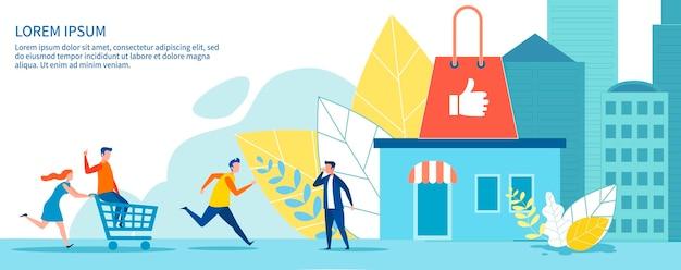 Banner de venda de publicidade com pessoas correndo para fazer compras