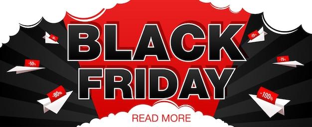 Banner de venda de sexta-feira negra com avião de papel. banner da web da black friday. ilustração vetorial