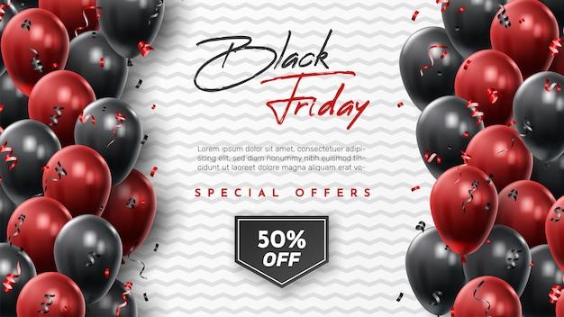 Banner de venda de sexta-feira negra com balões brilhantes.