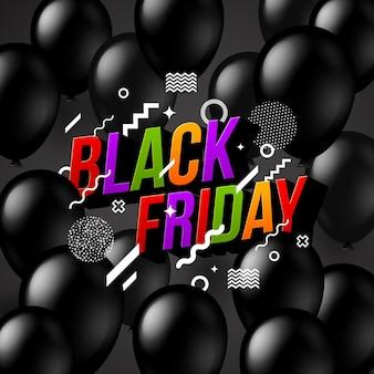 Banner de venda de sexta-feira negra com balões e manchete multicolorida.