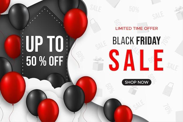 Banner de venda de sexta-feira negra com balões.