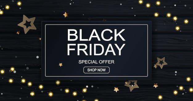 Banner de venda de sexta-feira negra com festão e estrelas.