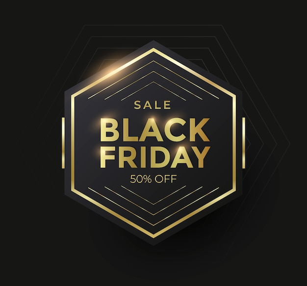 Banner de venda de sexta-feira negra com forma geométrica dourada. ilustração vetorial