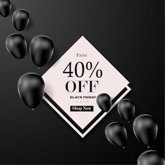 Banner de venda de sexta-feira negra com fundo do balão.