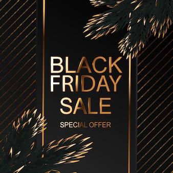 Banner de venda de sexta-feira negra com ramos de abeto vermelho dourado.