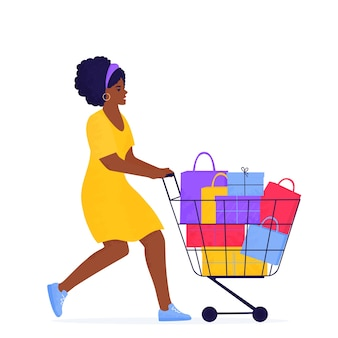Banner de venda de sexta-feira negra. garota afro-americana está fazendo compras com um carrinho cheio de compras e presentes.