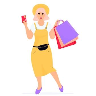 Banner de venda de sexta-feira negra. menina com sacolas de compras e cartão de crédito