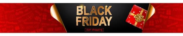 Banner de venda de sexta-feira negra nas cores pretas e douradas vermelhas. inscrição e caixa de presente em fundo escuro