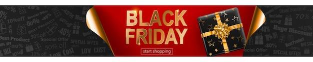 Banner de venda de sexta-feira negra nas cores vermelhas, pretas e douradas. inscrição e caixa de presente em fundo escuro. cantos de papel enrolados. ilustração vetorial para cartazes, folhetos, cartões Vetor Premium