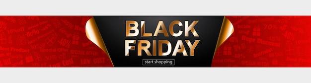 Banner de venda de sexta-feira negra nas cores vermelhas, pretas e douradas. inscrição em fundo escuro. cantos de papel enrolados. ilustração vetorial para cartazes, folhetos, cartões