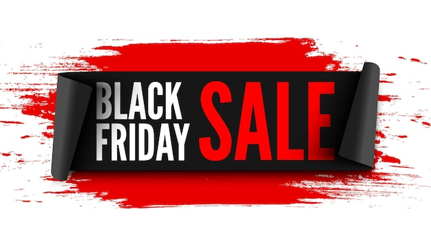 Banner de venda de sexta-feira preta com fita preta e pinceladas vermelhas.