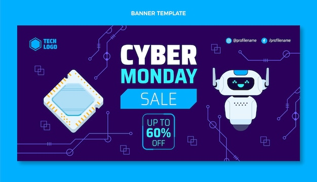 Banner de venda de tecnologia de cyber segunda-feira de design plano