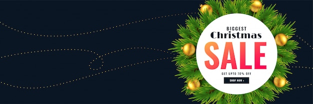 Banner de venda de temporada de natal com espaço de texto